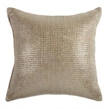 Metallic Gold Indoor/Outdoor Square Throw Pillow