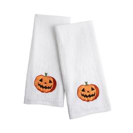 "16""x28"" Jack-O-Lantern Cotton Hand Towels, Set of 2"