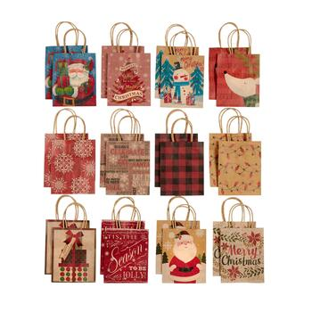"5.5"" Country Christmas Assorted Holiday Gift Bags, Set of 4"