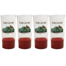 """Season's Greeting"" Vintage Truck Cooler Glasses, Set of 4"