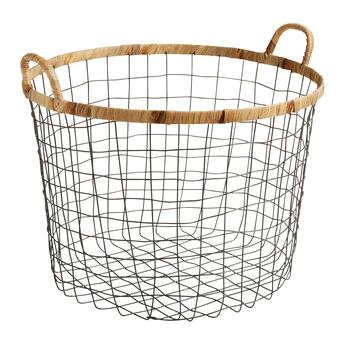 The Grainhouse Trade Round Wire Basket With Wrapped Trim