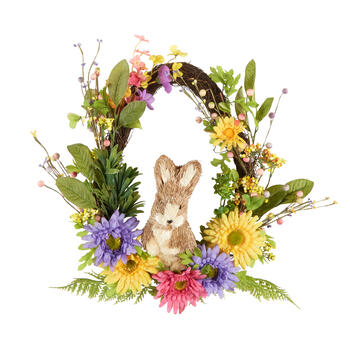 "17"" Floral Crest Wreath with Bunny view 1"