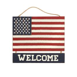 "15"" ""Welcome"" American Flag Wood Hanger"