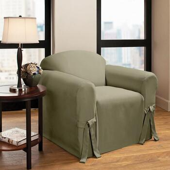 Side Ties Solid Chair Slipcover