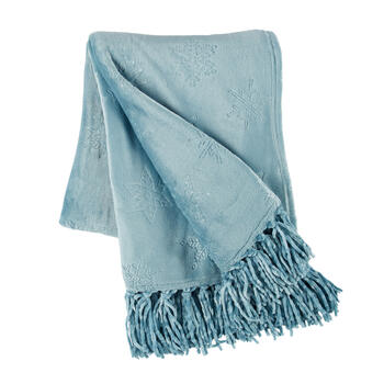 Snowflake Embossed Throw Blanket with Fringe view 1
