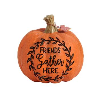 "8"" ""Friends Gather Here"" Etched Pumpkin"