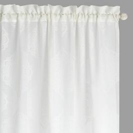"84"" White Medallion Burnout Window Curtains, Set of 2"