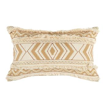 Cream Boho Chic Fringe Throw Pillow