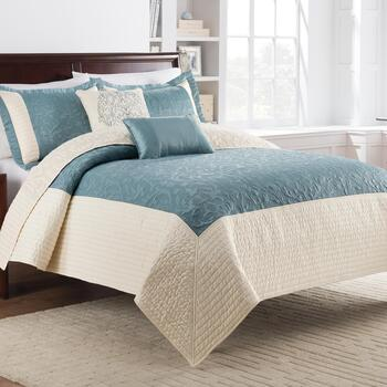 Teal Bristol Cotton Quilt Set