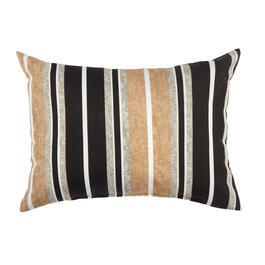 Beige/Black Stripe Indoor/Outdoor Oblong Throw Pillow view 1