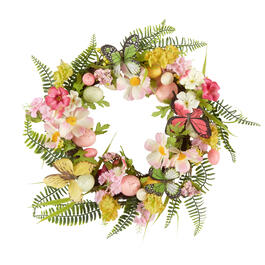 "19"" Butterflies and Eggs Artificial Floral Wreath view 1"