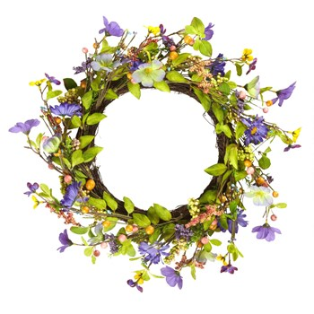 "21"" Purple Floral Twig Summer Wreath"