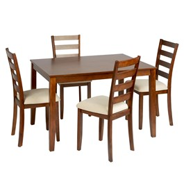 Light Oak Upholstered Dining Set, 5-Piece