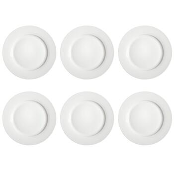 White Wide Rim Round Dinner Plates Set, 6-Piece