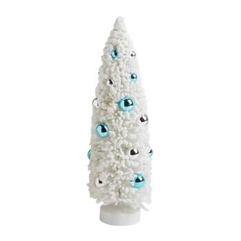 "16.5"" Blue/Silver Ornaments Brush Tree Decor"