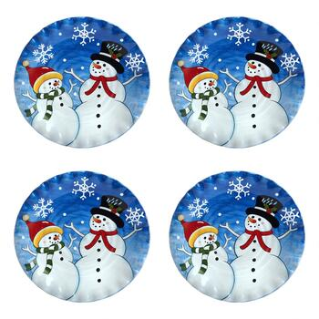 Blue Snowman Pair Dinner Plates, Set of 4
