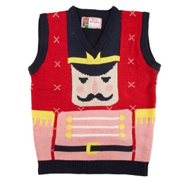 Nutcracker Soldier Ugly Christmas Sweater Vest