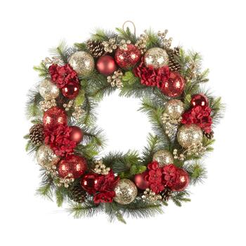 "32"" Ornaments, Flowers and Pinecones Artificial Twig Wreath"