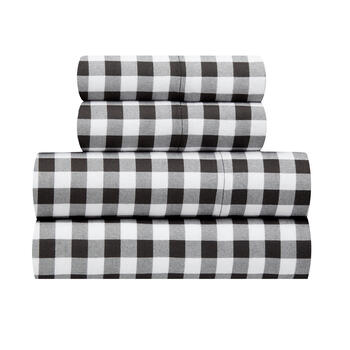 King Checkered Pattern Flannel Sheet Set view 1