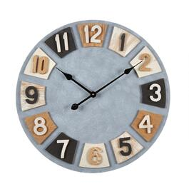 "24"" Wood Plates Round Metal Wall Clock"