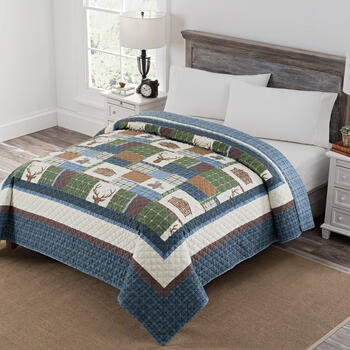 Buck Patchwork Print Reversible Quilt view 1