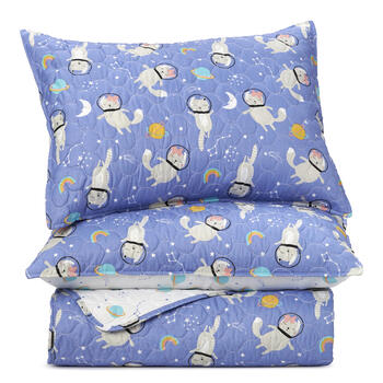 Girls Space Cat Quilt Set view 1