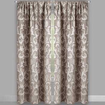 Damask Chenille Jacquard Window Curtains, Set of 2 view 2