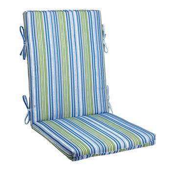 Vera® Blue/Green Stripe Indoor/Outdoor Hinged Chair Pad