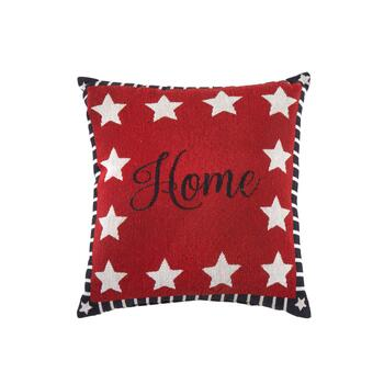 """Home"" Stars and Stripes Square Throw Pillow"