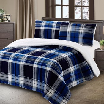 Flannel Rooster™ Blue Plaid Sherpa-Back Comforter Set view 1