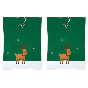 Reindeer Embroidered Gift Sacks, Set of 2