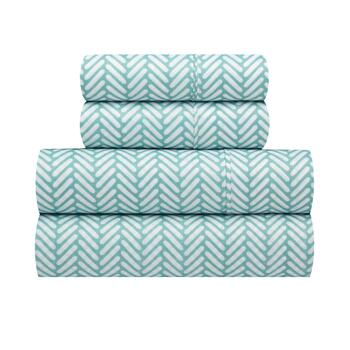 Richmond Teal/White Zigzag Microfiber Sheet Set