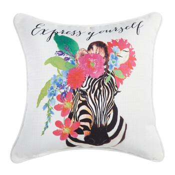 """Express Yourself"" Zebra Square Throw Pillow"