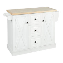 3-Drawer/2-Barn Door Rolling Kitchen Island view 1