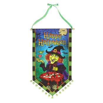 "37.5"" ""Happy Halloween"" Witch's Kettle Canvas Banner with Pom-Poms"