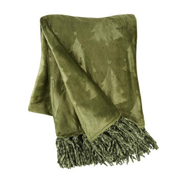 Pine Tree Embossed Throw Blanket with Fringe view 1