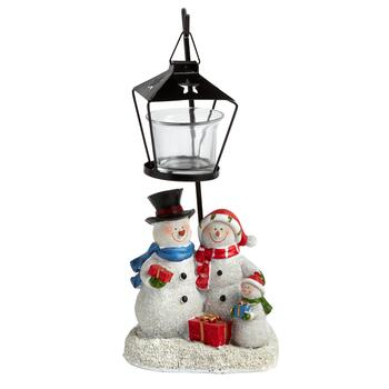 "11.5"" Holiday Snowmen Lamp Post Tealight Candle Holder"