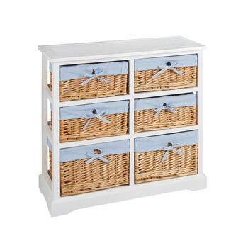 Sara White 6-Basket Cabinet with Striped Lining