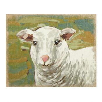 "9.5""x12"" White Sheep Burlap Wall Art"