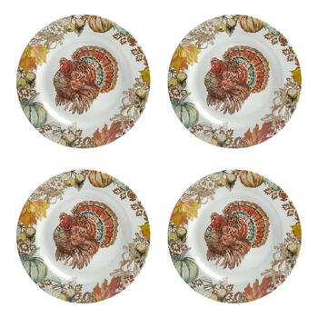 "11.25"" Turkey Melamine Dinner Plates, Set of 4"