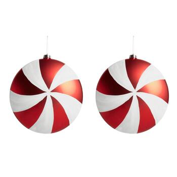 "10.25"" Jumbo Peppermint Candy Ornaments, Set of 2"