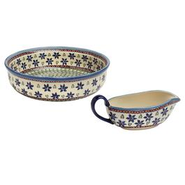 Blue Flowers Polish Pottery Serveware Collection
