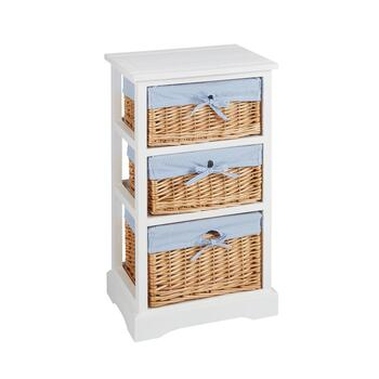 Sara White 3-Basket Cabinet with Striped Lining