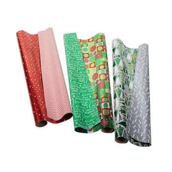 Red/Green/Silver Reversible Wrapping Paper Rolls, Set of 3