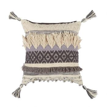 The Grainhouse™ Gray/Ivory Fringe Knot Throw Pillow