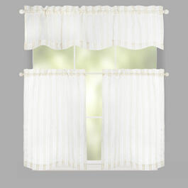 Alesi Stripe Window Tier & Valance Set view 1