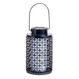 "8"" Punched Metal Solar Lantern view 1"