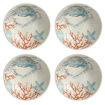 Coastal Living Seascapes™ Blue Crab Ceramic Pasta Bowls, Set of 4