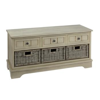 Charlotte Gray 3-Basket/3-Drawer Storage Bench