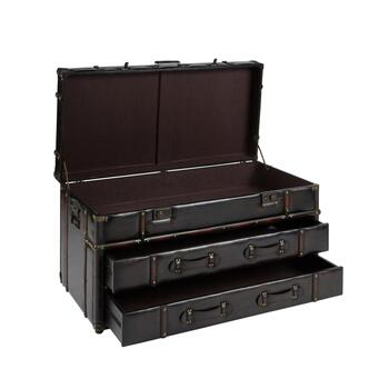 "20""x41.25"" Coffee Faux Leather Storage Chest view 2"